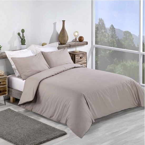 Super King size Standard Duvet Cover with Pillowcases Light Mocha