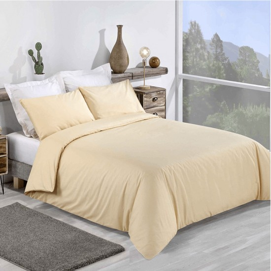 Double Bed Premium Duvet Cover with Pillowcases Pale Yellow