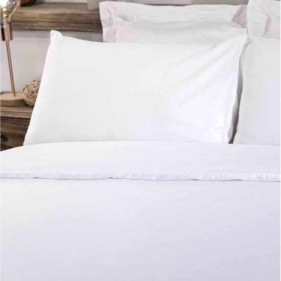 Supreme TC300 Duvet Cover Super King size White Sateen Cotton